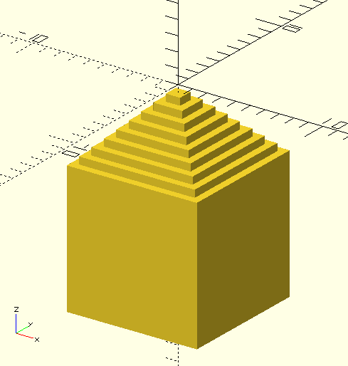 Моделирование в OpenSCAD для 3D печати - Пирамидка